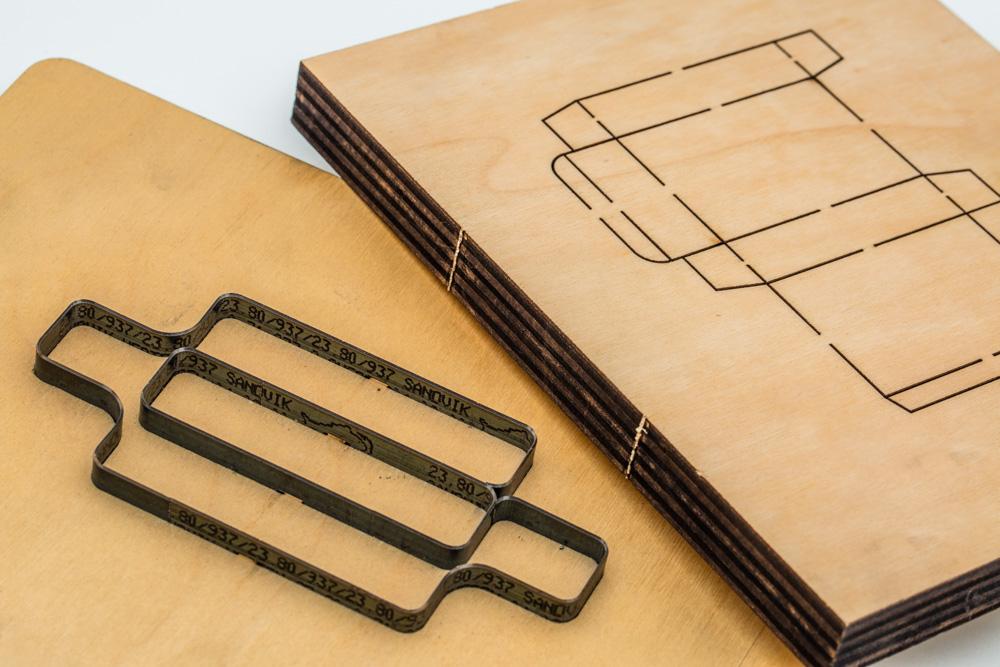 Laser-cut wooden die boards
