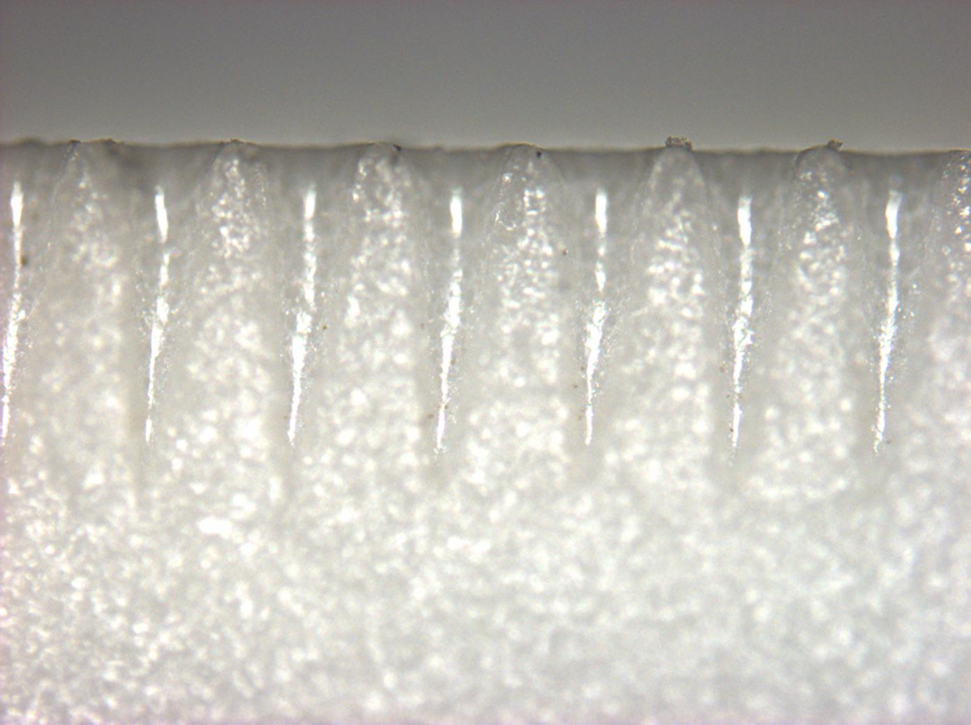 Microscope image of laser-scribed alumina ceramic