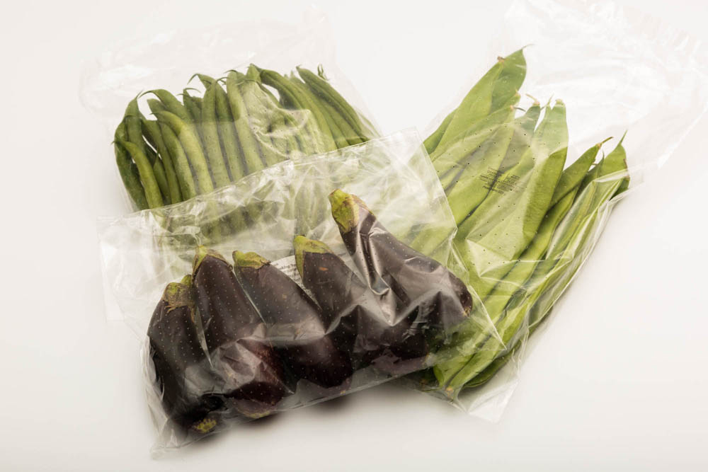 Fresh produce in plastic packaging