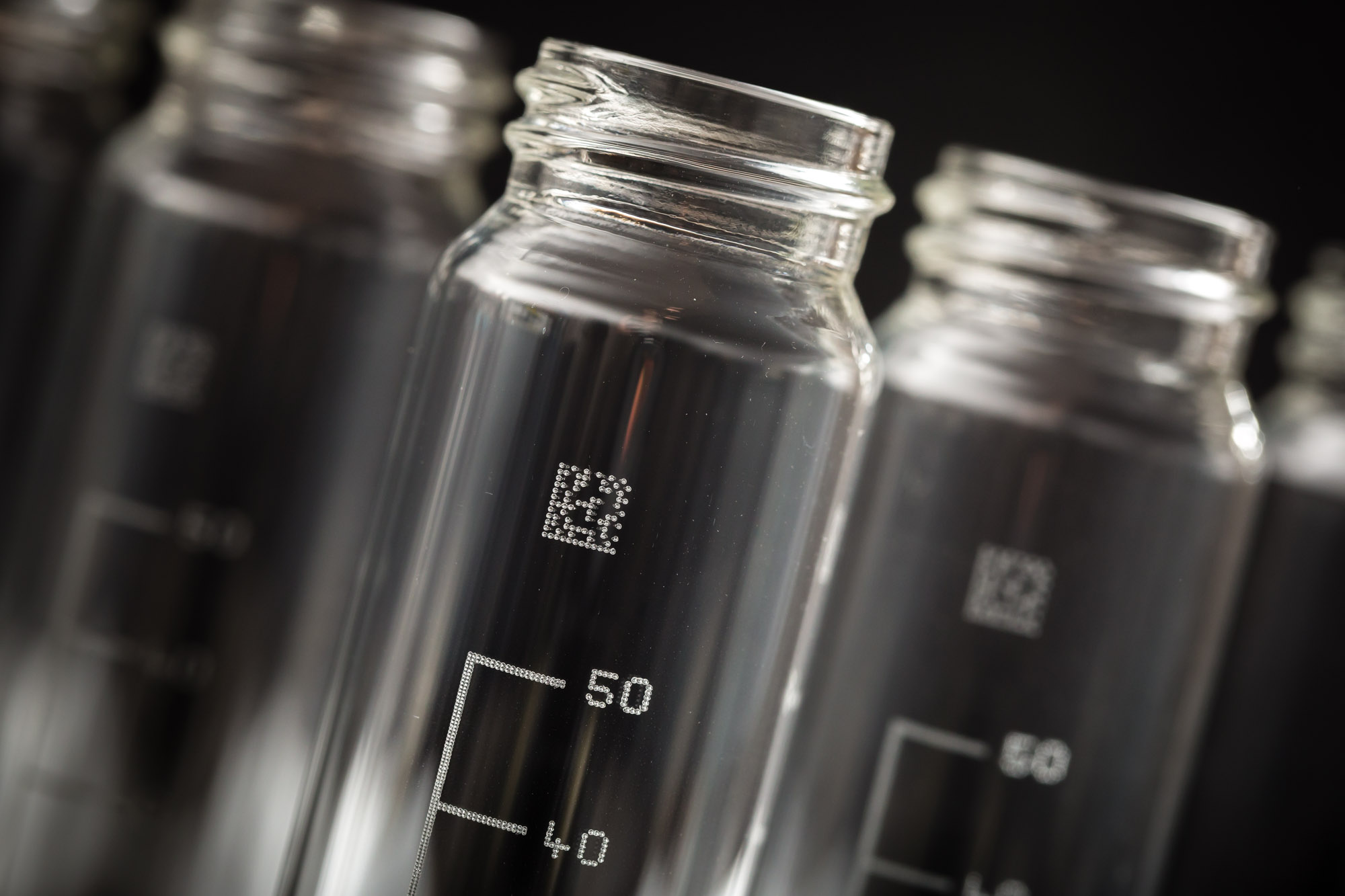 Laser marked glass vials