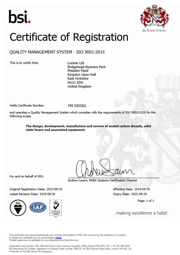 Certificat d'enregistrement BSI