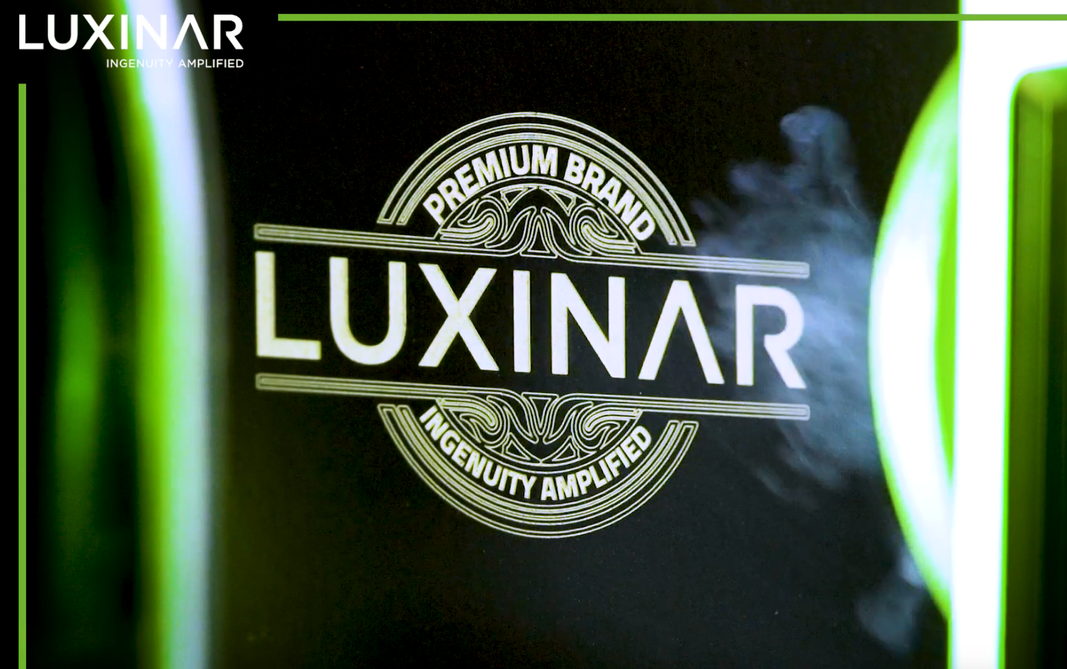 Luxinar logo laser marked on glass