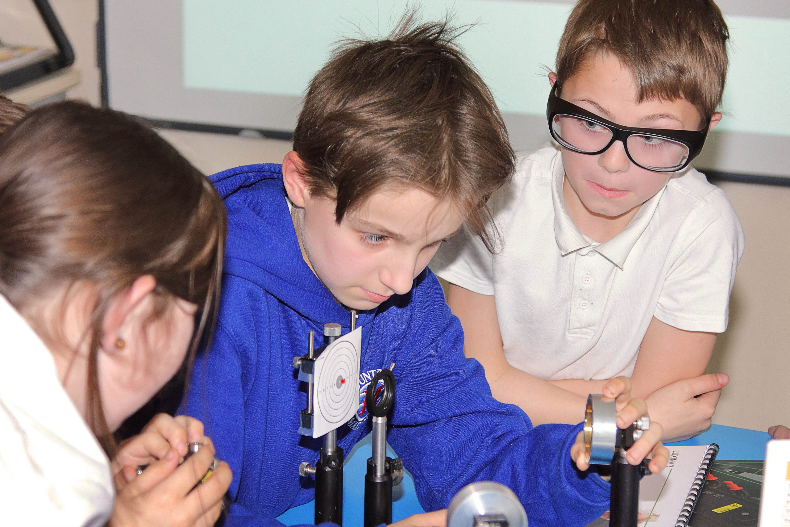 Children at Mountbatten Primary School, Hull, UK, get hands-on with a laser-based game