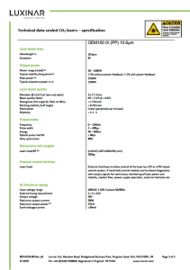 First page of OEM 100iX data sheet (provisional)