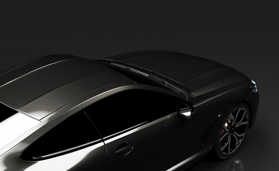 Modern black premium car with black background